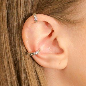 Ear Cuff Set in Sterling Silver Braided Pattern